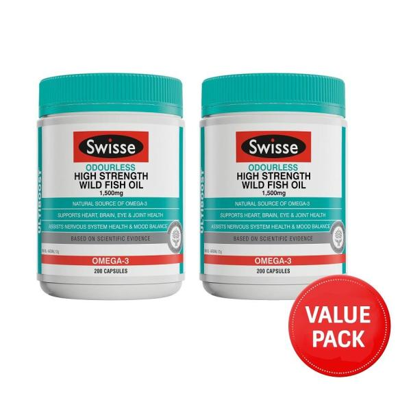 Buy Swisse Ultiboost Odourless High Strength Wild Fish Oil 1500mg 200 Capsules (2pcs Value Pack) March 2023 Singapore