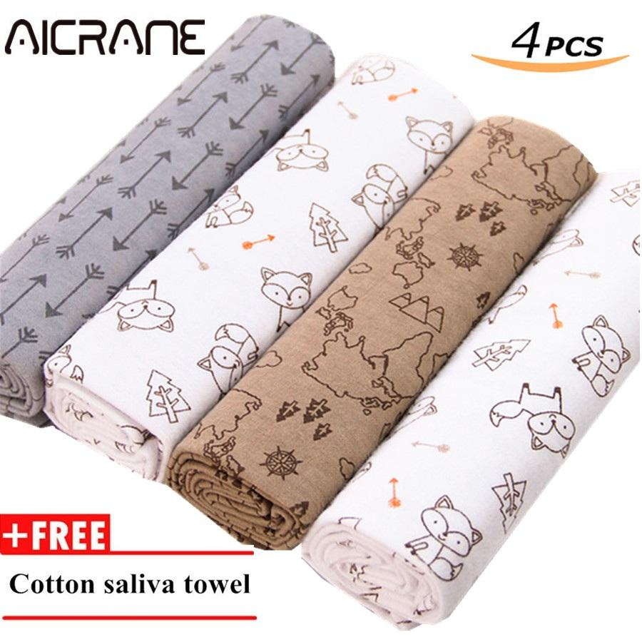 4Pcs Pack 76Cm 76Cm 100 Cotton Flannel Receiving Blanket For Swaddling Newborns Soft Absorbent Burp Cloths Free Baby Saliva Towel Intl On China