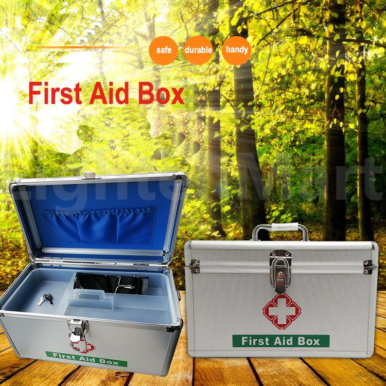 Aluminum Alloy Family Medicine Cabinets Medical Box First Aid Kit Storage Case(30.5 * 17 * 19cm) - intl