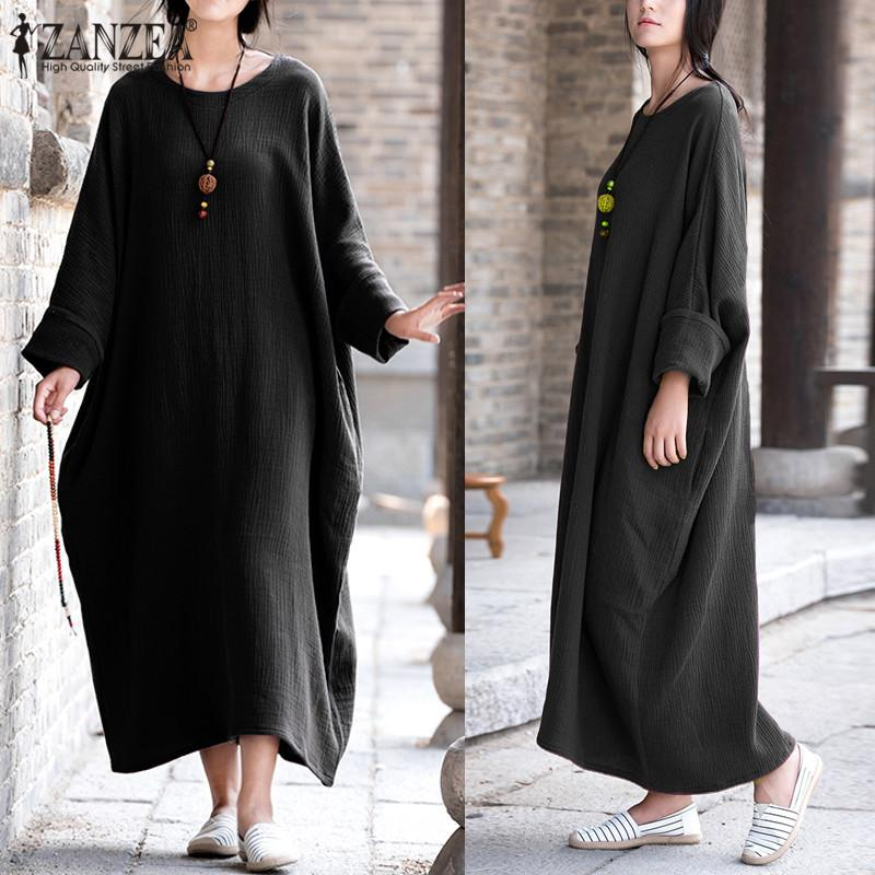 Lowest Price Zanzea Womens Vintage Batwing Sleeve Baggy Kaftan Pockets Maxi Long Dress Casual Party Solid Vestido Plus Size Intl