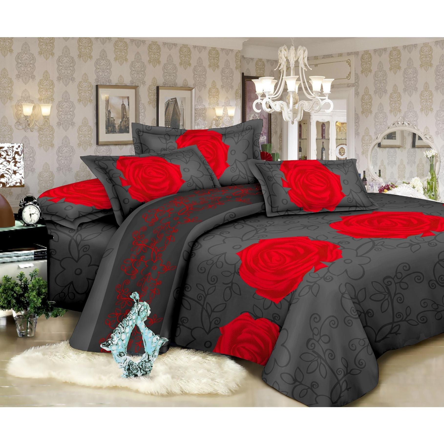 I Sleep Super Soft Comforter Set Quilt Bed Sheet Set 5Pcs Bundle Pack Red Flower For Sale Online