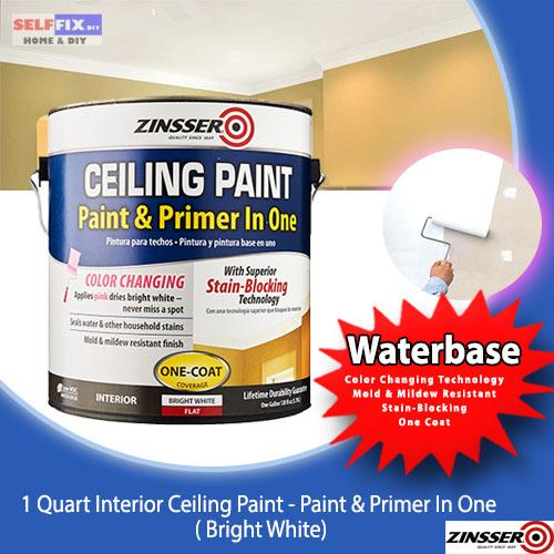 Zinsser Ceiling Paint - Paint + Primer in one 1 Quart (Bright White) Stain Blocking Mold Resistant