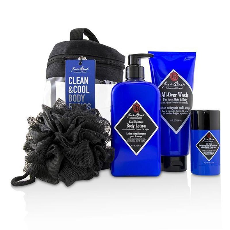 Buy Jack Black Clean   Cool Body Basics Set: All Over Wash 295ml + Pit Boss Deodorant 78g + Cool Moisture Body Lotion 473ml + Netted Sponge 4pcs Singapore