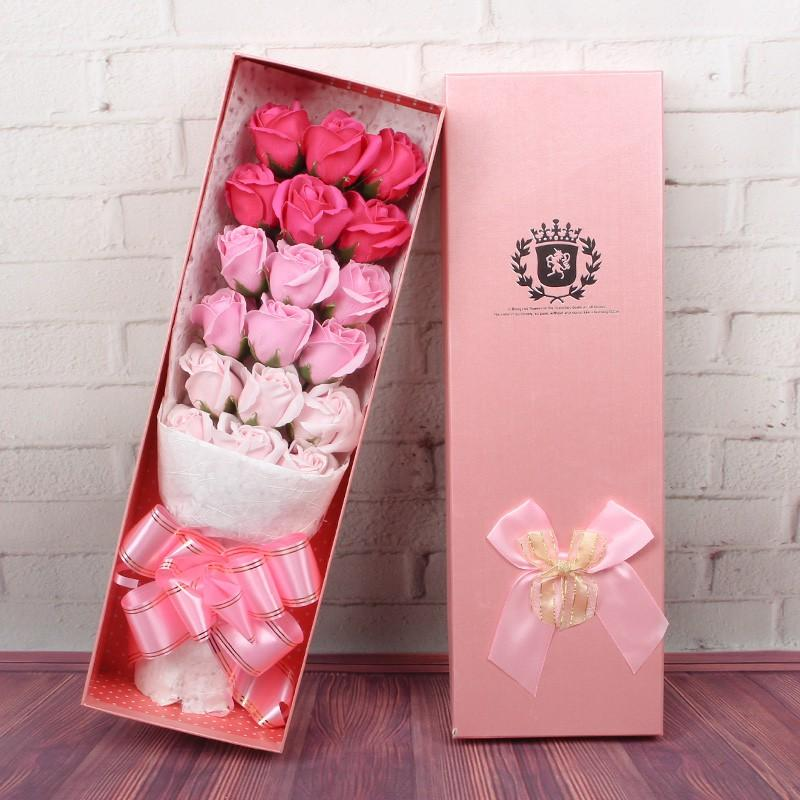 18 rose soap flower gift box bouquet Valentines Day Mothers Day Birthday gift