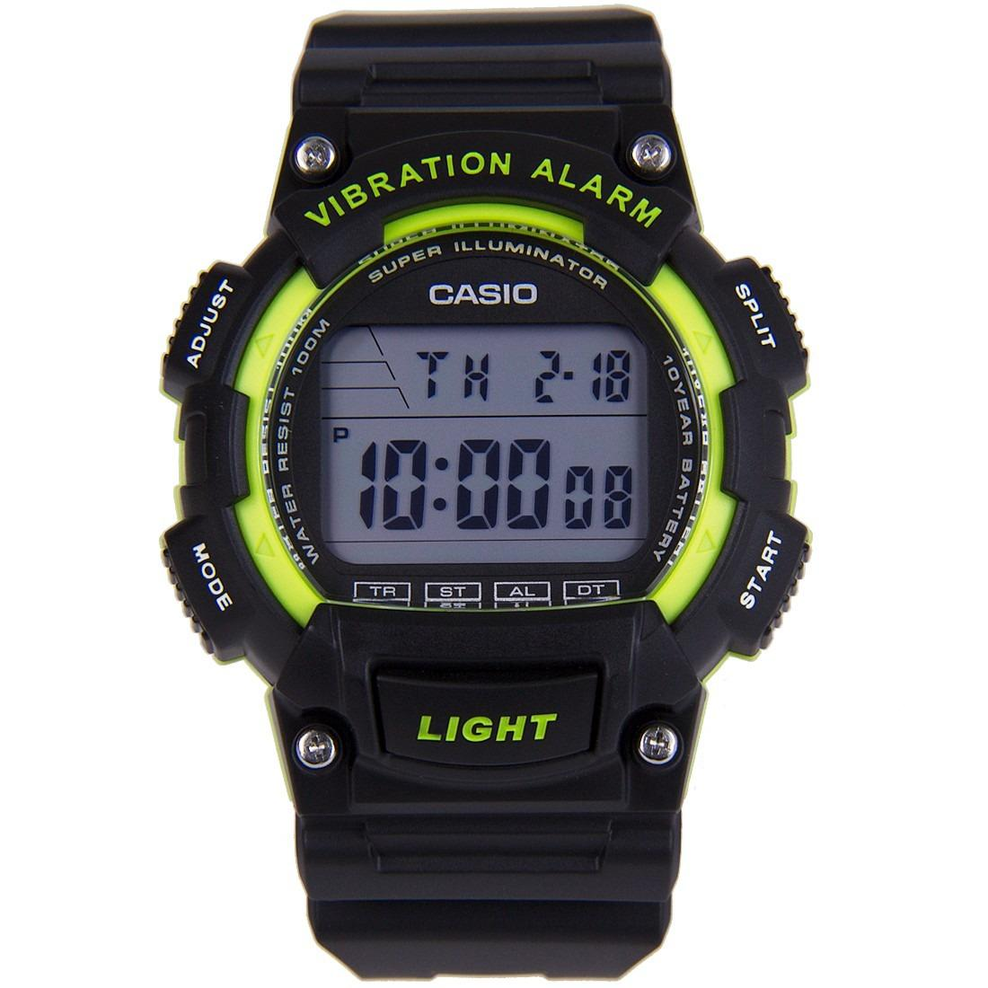 Best Buy Casio Super Illuminator Vibration Alarm Dual Time Digital Men S Black Resin Strap Watch W 736H 3Av