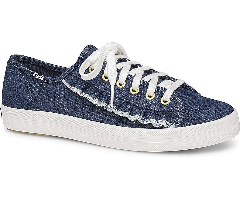 eafdef0d7e73 Keds C8 Kickstart Ruffle Denim Dark Blue Sneakers WF59239