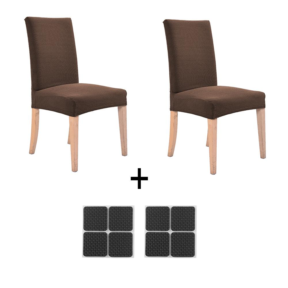 2pcs Hotel Home Dining Chairs Cover Cases Removable Washable + Free 8 pcs Table Chair Anti-slip Protecting Leg Pads