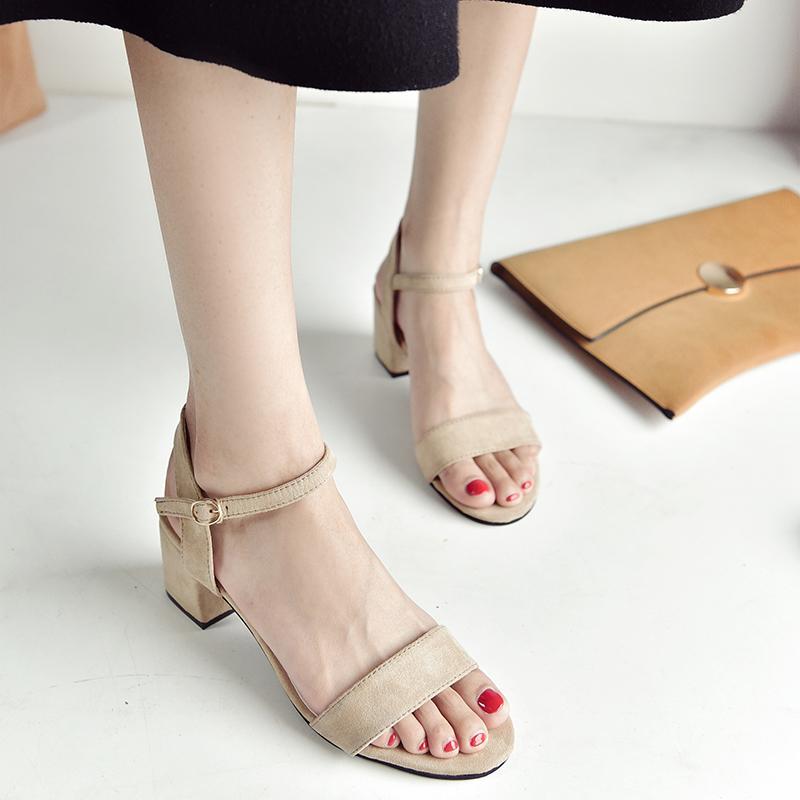 66f93bb6fc24 Sandals Female Summer Semi-high Heeled High Heel Shoes 2018 Korean Style  Open Toe A