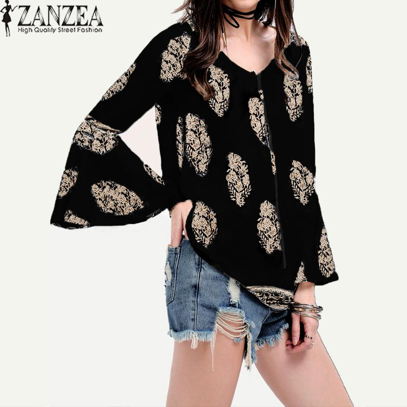 736df12cc17 ZANZEA Womens Lace-Up V-Neck Shirt Oversized Boho Floral Print Flare Sleeve  Casual