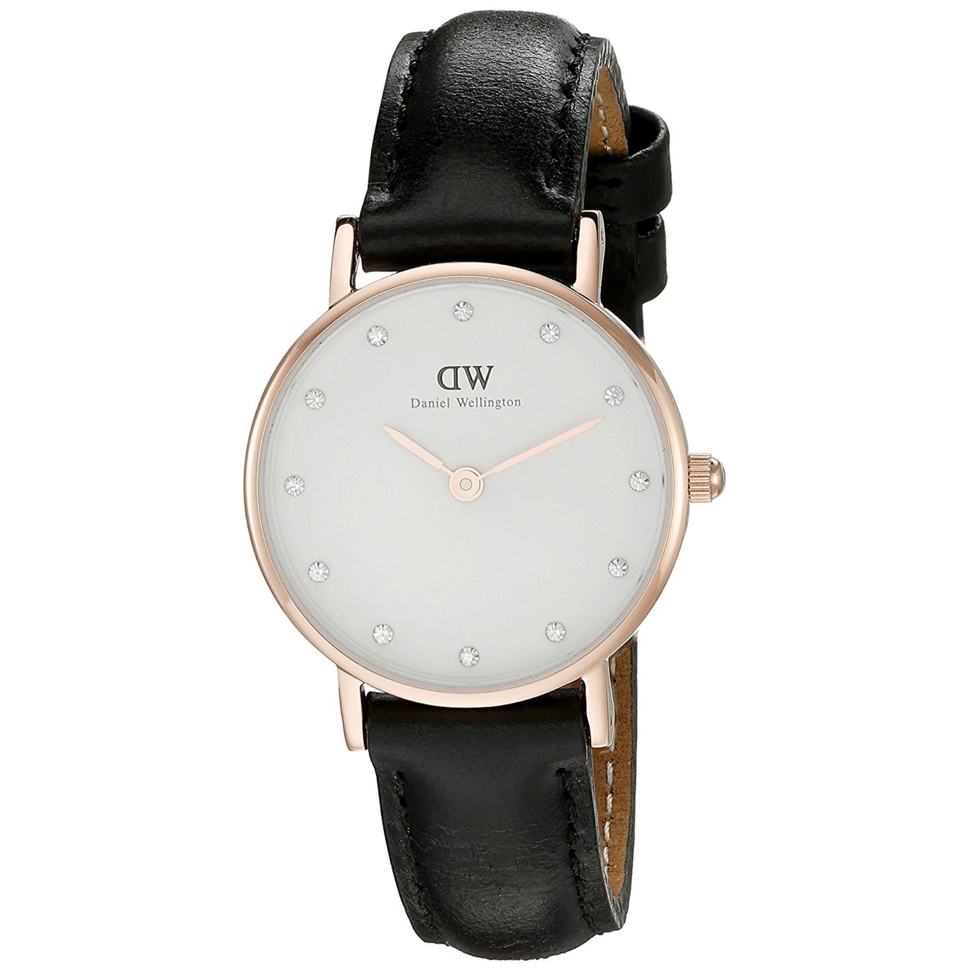 cb13109a1ccb Daniel Wellington Classy Sheffield White Diamond Dial Ladies Quartz 26mm  Black Leather Watch DW00100060