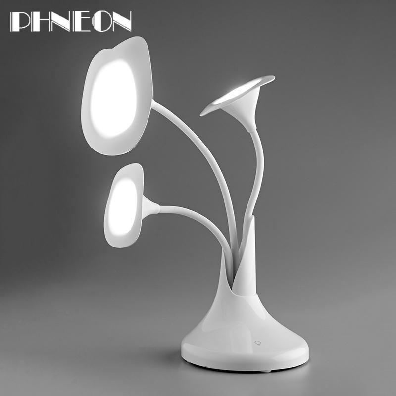 PHNEON Art Flower Touch Desk Lamp Morning Glory New Office Table Lighting Eye Protection Desk Lamps 3 Flower Recharging Led Light