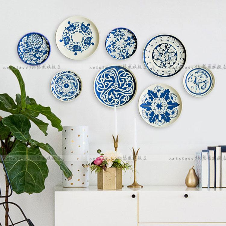 Kaiser Wei Blue And White Porcelain Composite Chinese Style Chinese Restaurant Living Room Decorative Plates Wall Plate Ceramic Plate