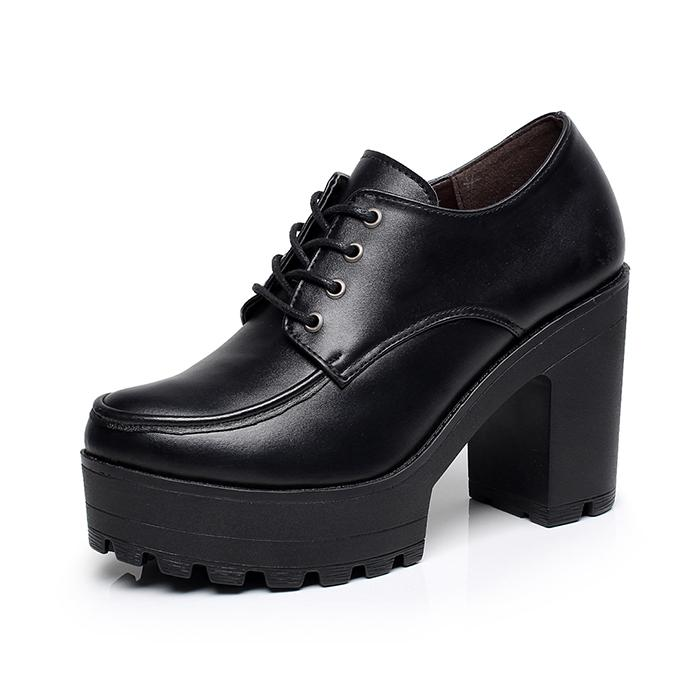 2019 Autumn New Style High Heels Block Heel Lace-Up Thick Bottomed Waterproof Platform Muffin Shoes Casual Shoes Korean Style Leather Shoes Womens Shoes By Taobao Collection.