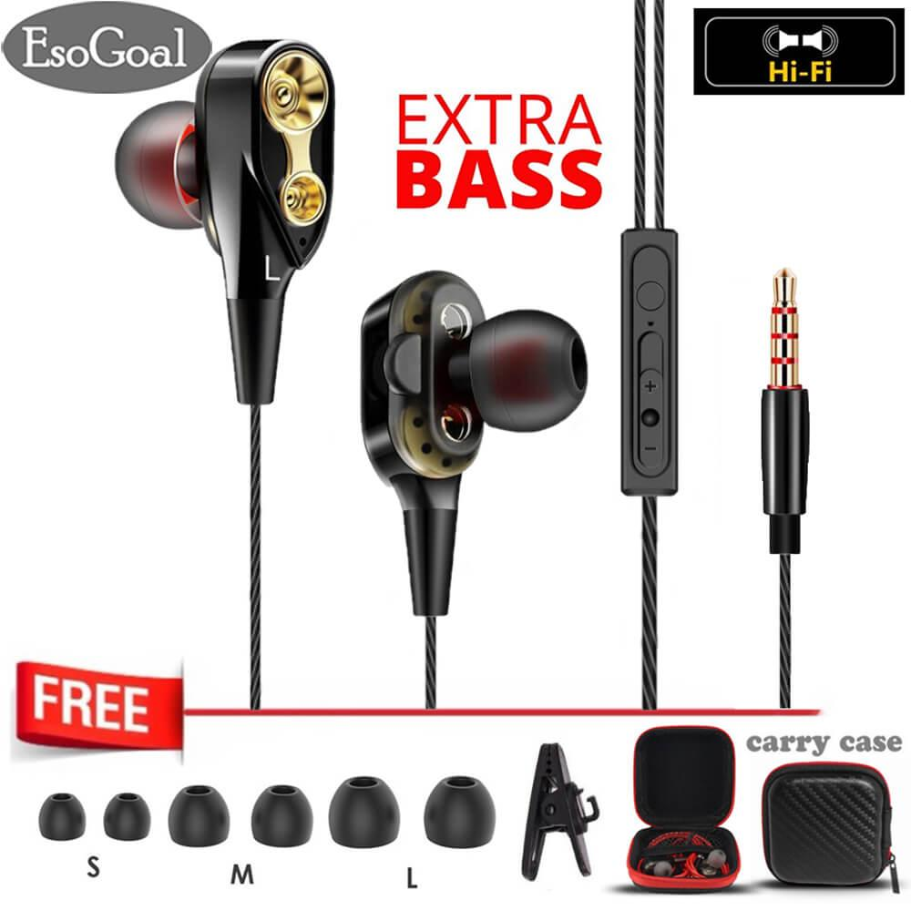 Esogoal In-Ear Earbuds Headphones Dual Dynamic Drivers Earphones With Mic Strong Bass And Noise Reduction Volume Control Headset And Case For Cellphone By Esogoal.
