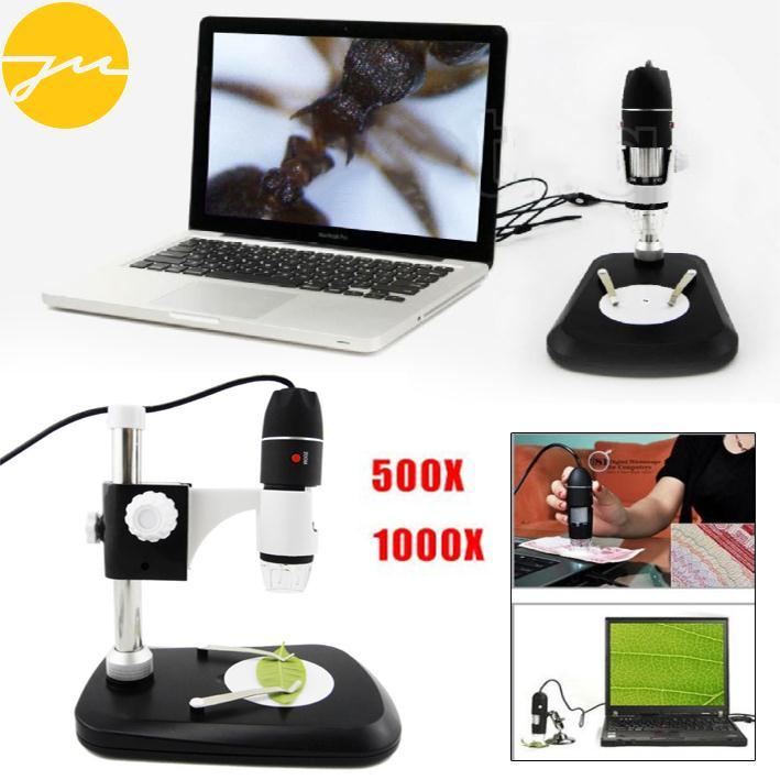 JMS Microscope Magnifying Glass Adjustable 500X W/Stand Digital HD Lab Science