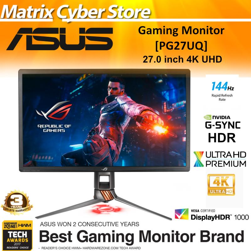 ASUS ROG Swift PG27UQ Gaming Monitor 27 4K UHD (3840 x 2160), Overclockable 144Hz, G-SYNC HDR, Quantum-dot , IPS, Aura Sync