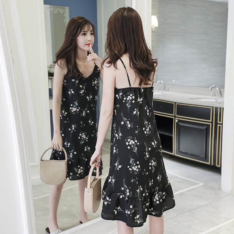 0e46084447fe 2019 New Style Vintage Floral Print Chiffon Strapped Dress Female Summer  Mid-length Flounced Base