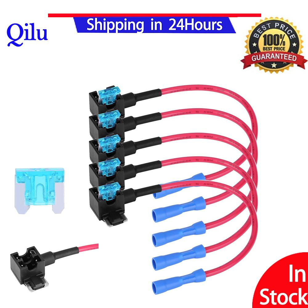 5pcs Car Auto Fuse Accessries Tap Adapter Micro Mini Blade Fuses Holder - Intl By Qilu.