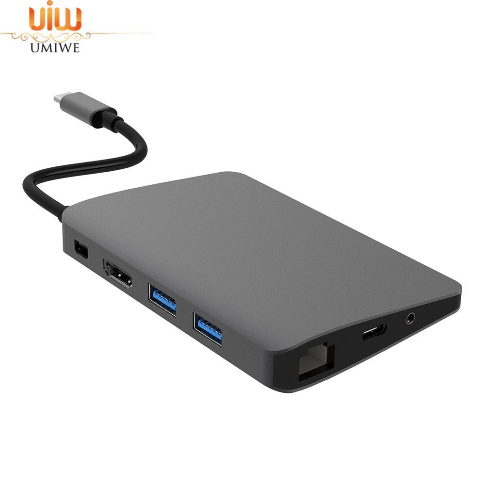 Umiwe 9-in-1 USB Hub Multifunction USB-C Hub With Type-C 4K Video HDMI Gigabit Ethernet Adapter USB 3.1 USB C Type C3.1 HUB - intl