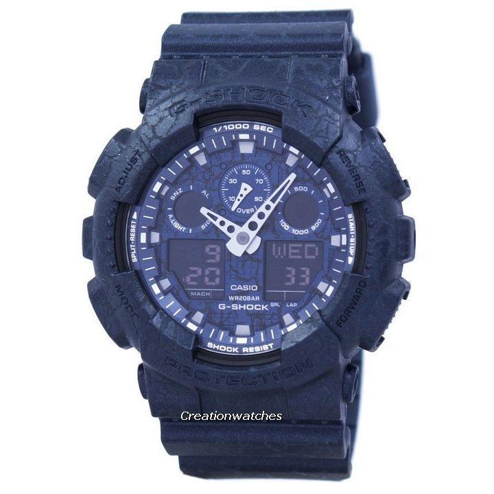 Sale Casio G Shock Shock Resistant World Time Alarm Analog Digital Men S Blue Resin Strap Watch Ga 100Cg 2A On Singapore