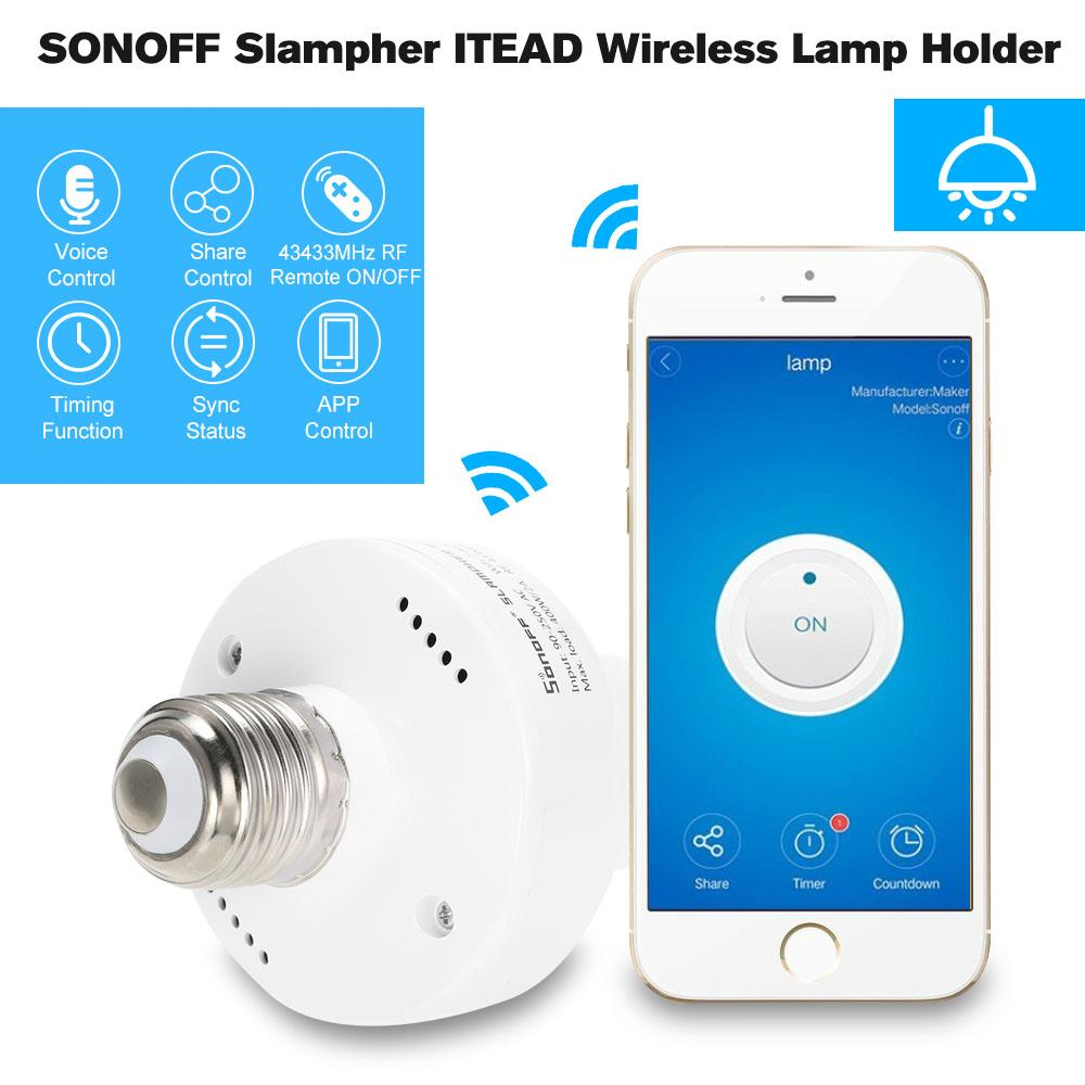 Discount Sonoff E27 Slampher Wifi 433Mhz Wireless Light Lamp Bulb Holder Smart Switch Module Home Intl China