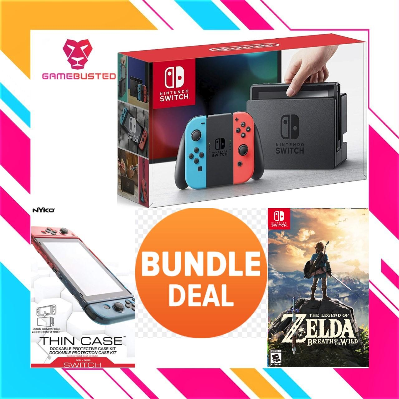 Nintendo Switch Console Bundle With Nintendo Switch The Legend Of Zelda Breath Of Wild +nyko Thin Case Includes Screen Armour (grey/neon)(1 Year Local Warranty) By Game Busted.