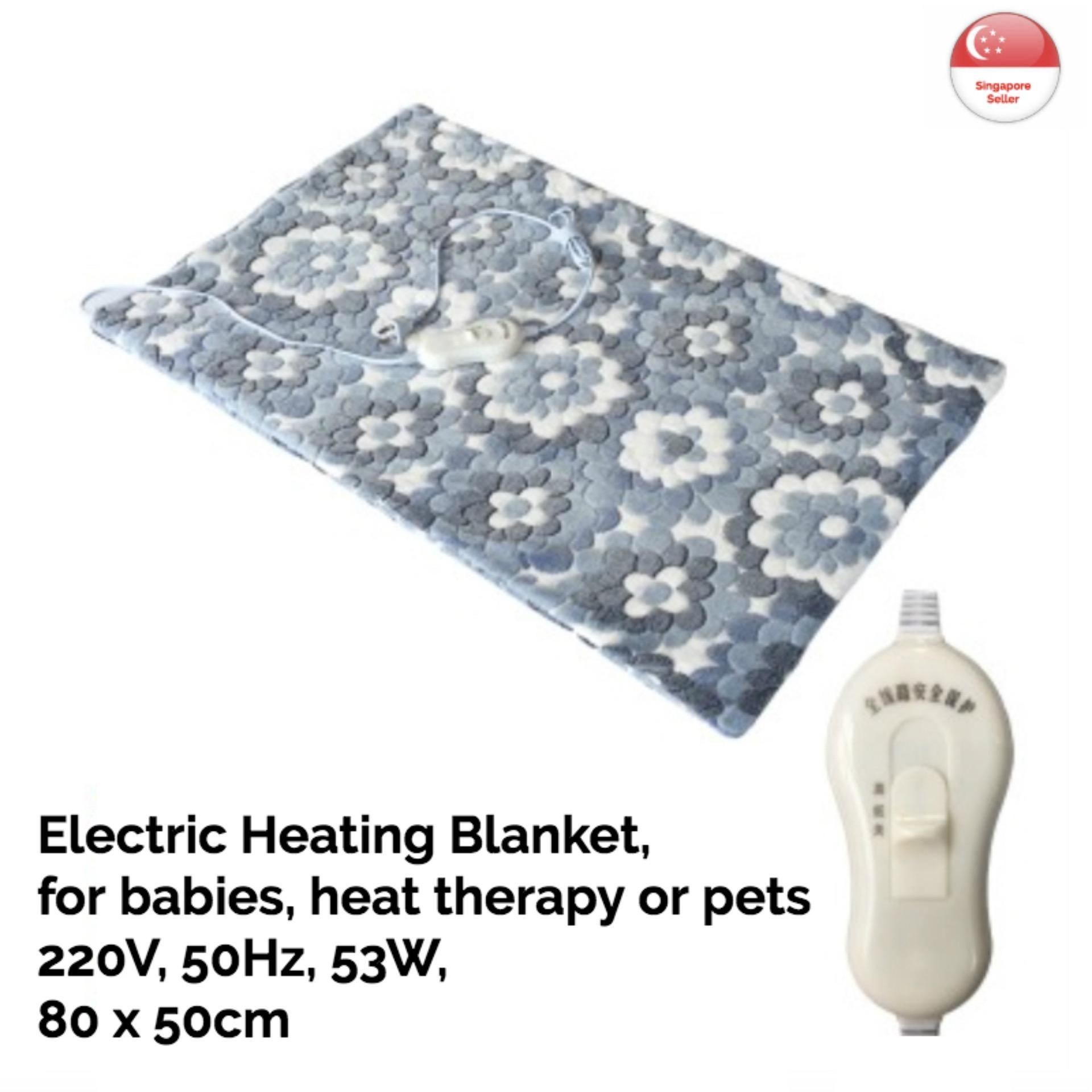 Electric Heating Blanket - Blue, 53w, 80 X 50cm, Pad, Mat, Scarf, Home, 2-Heating Levels, Heat, Therapy, Baby, Elderly, Pets, Mini, Ultra-Soft Fabric, Flower-Design By Bringit.