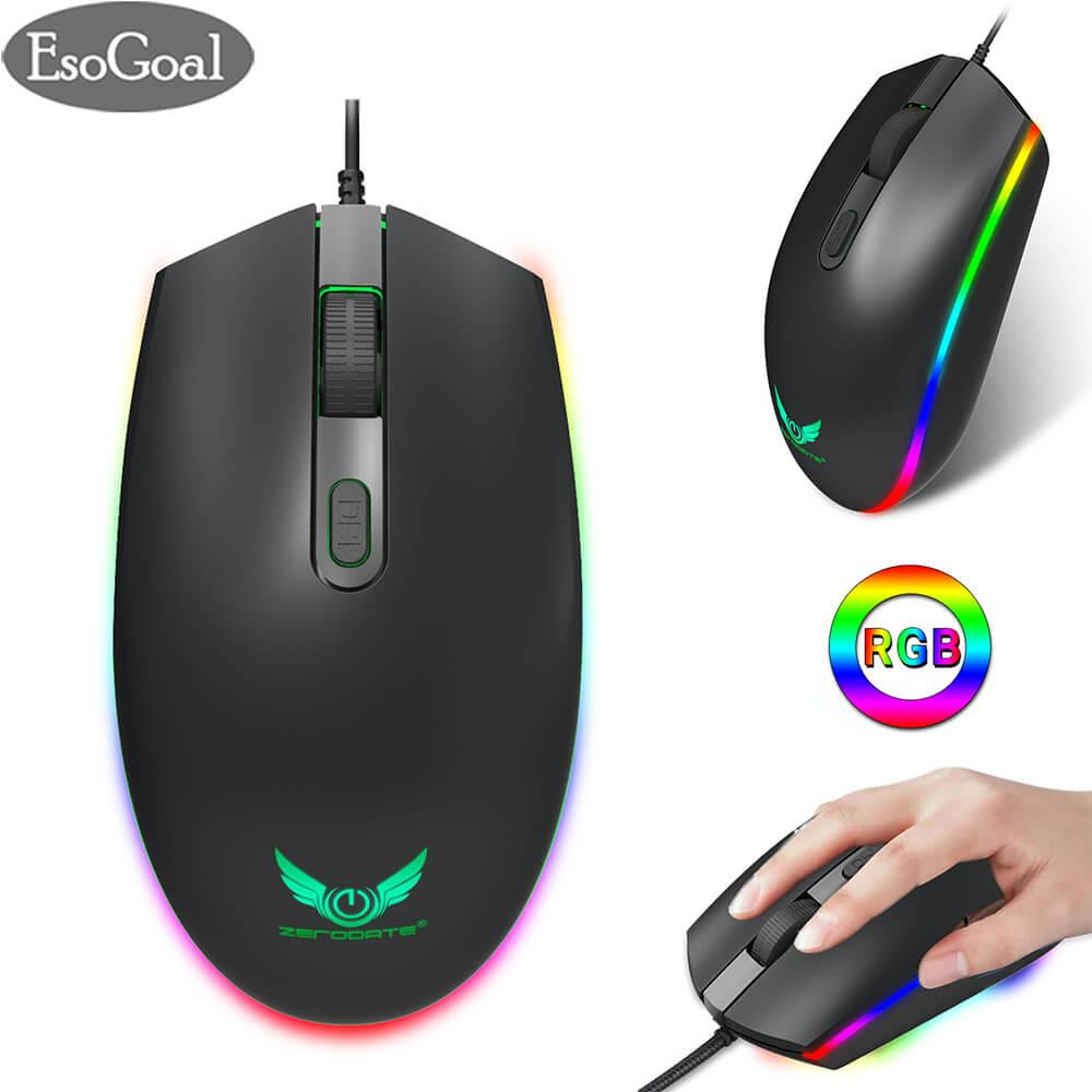 EsoGoal RGB Gaming Mouse Wired LED Mice,Breathing Backlit Optical USB Mouse with 1600 DPI Programmable PC Computer Laptop Mouse for PC & Mac Gamers (Black)
