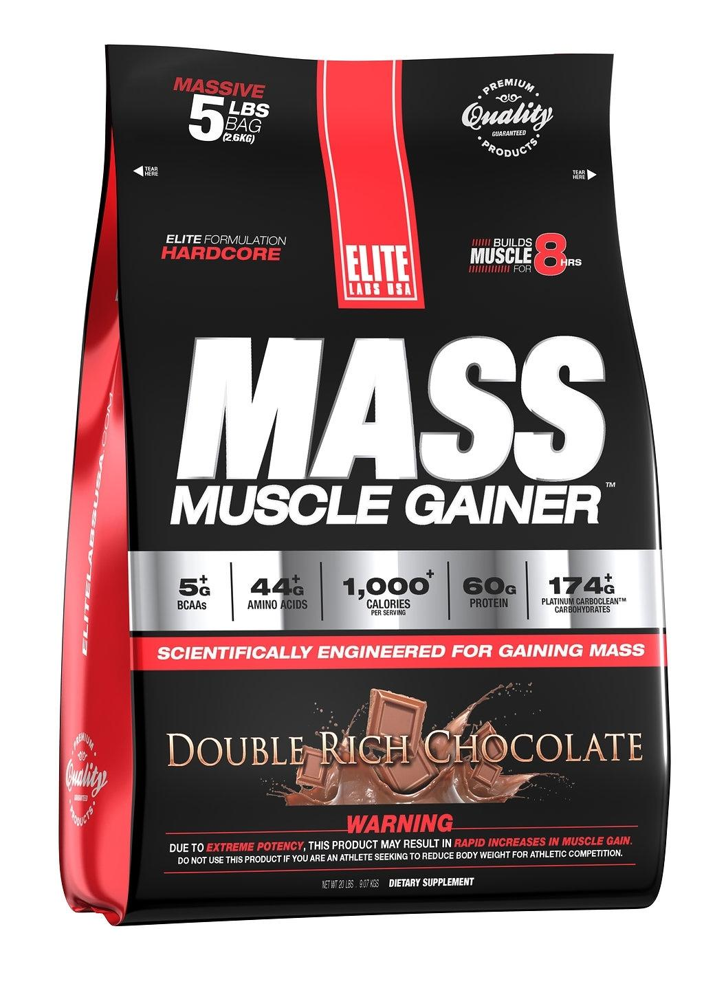 Elite Labs Mass Muscle Gainer 5 Lb Double Rich Chocolate (exp Jan 2021) By The Supplement Warehouse.