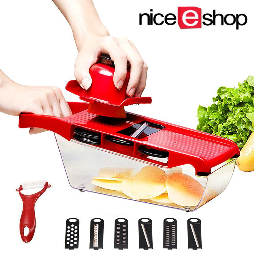 Niceeshop Mandoline Slicer Manual Vegetable Slicers With 6 Blades Potato Carrot Grater For Vegetable Onion Slicer Kitchen Accessories - Intl By Nicee Shop.