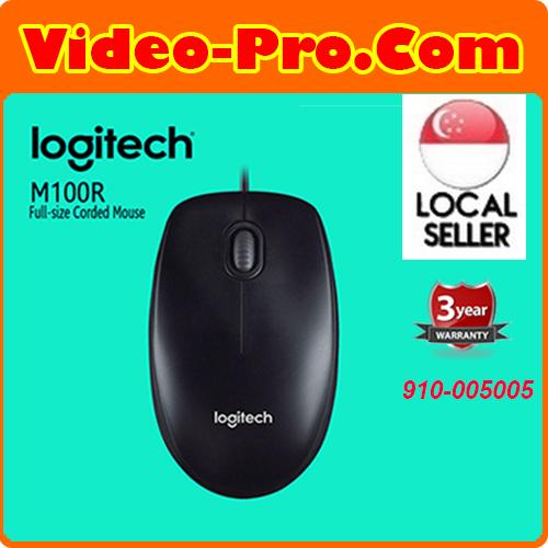 Logitech M100R Wired USB Optical Mouse Dark Black 1000 dpi 910-005005  3Years Local Warranty