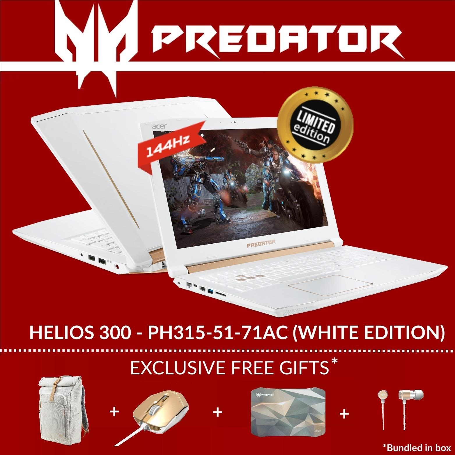 Predator Helios 300 PH315-51-71AC (White Special Edition) Gaming Laptop with 144Hz refresh rate and GTX 1060 Graphics Card