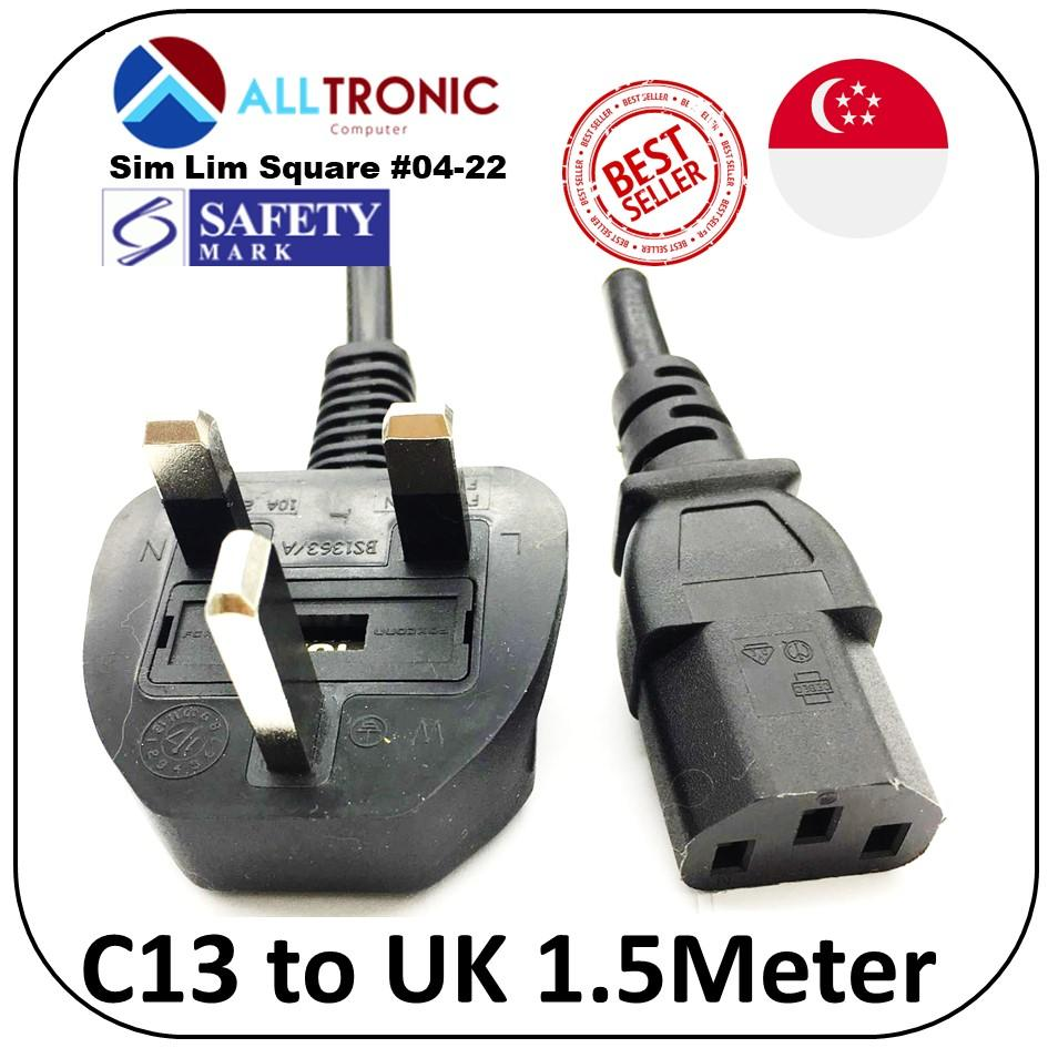 C13 to UK (3pin) Power Cable 1.5Meter with Safety Mark 10A 250V