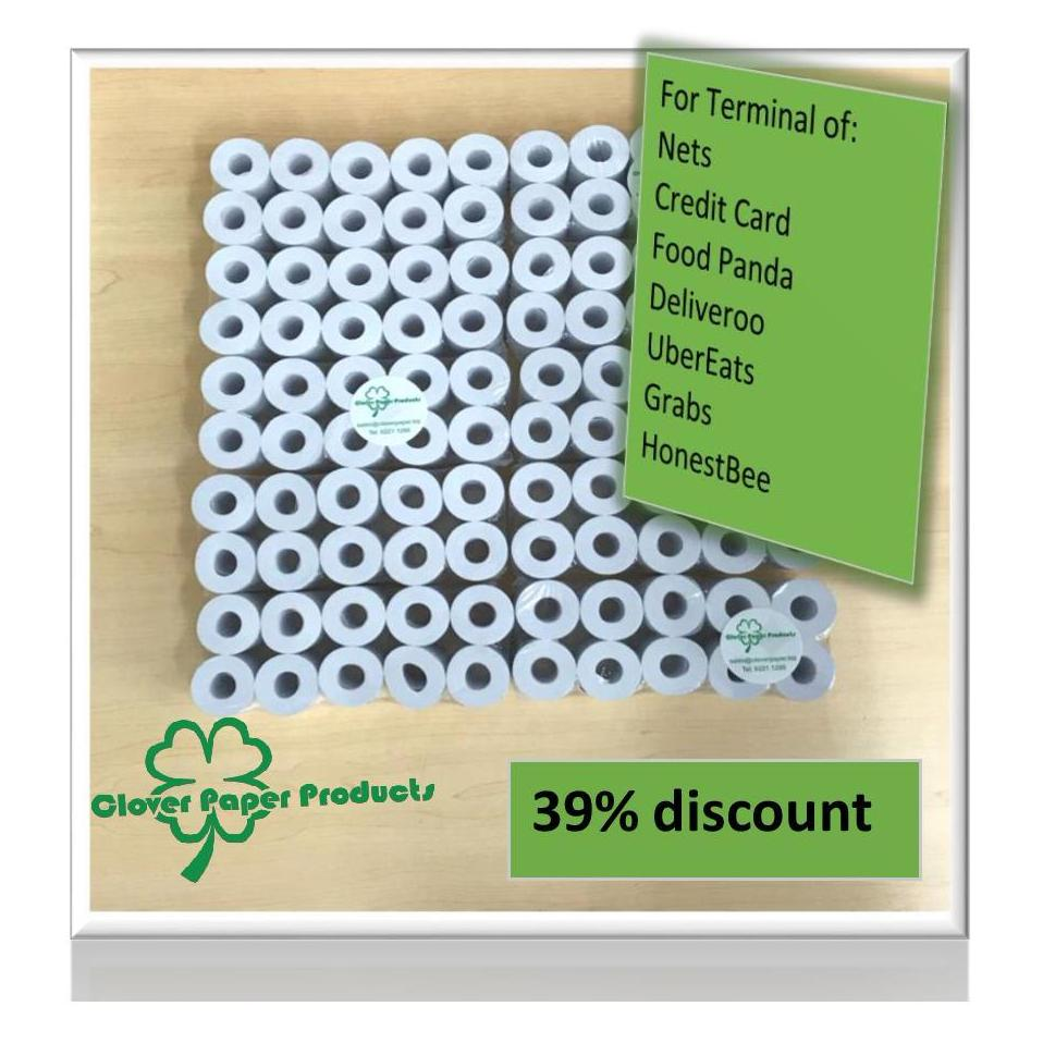 Discount 100 Rolls Of Nets Credit Card Machine Coreless Thermal Paper Roll 57 X 38 Can Be Used For Deliveroo Foodpanda Grab Honestbee Uber Eats Terminal Oem