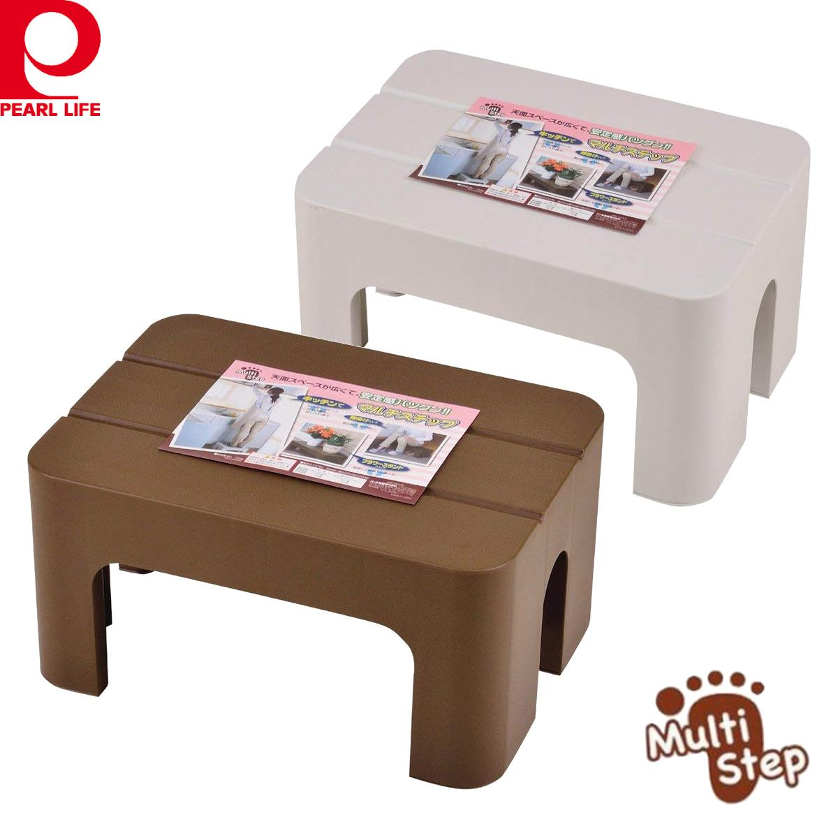 [Japan] Step Stool / kitchen kid entrance shoe chair / Brown White / Made in Japan