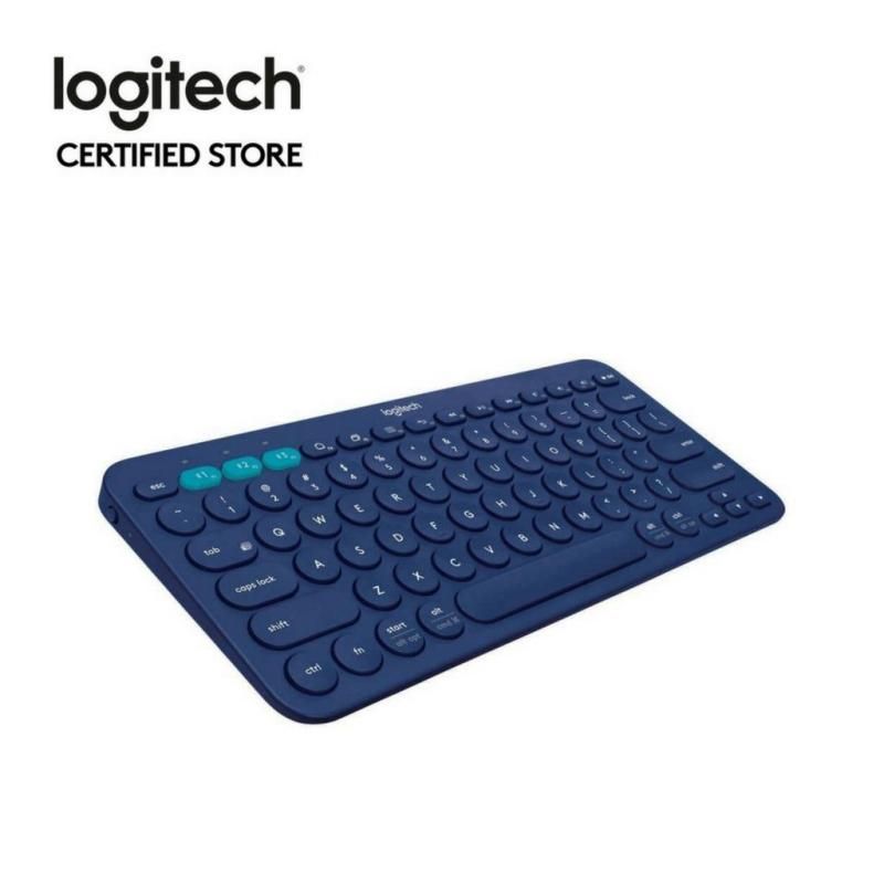 Logitech K380 Blue Slim Multi-Device Bluetooth Keyboard (iOS, Android, OSX, iPhone) with Logitech FLOW Technology Singapore
