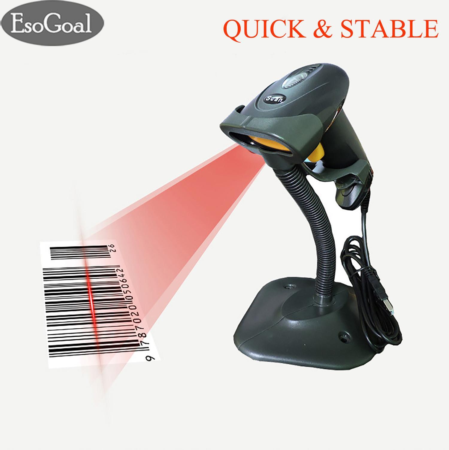 Esogoal Barcode Scanner Usb Wired Barcode Reader Scanner Handheld High Speed Laser Bar Code Scanner 1d With Stand Holder For Window Pc By Esogoal.