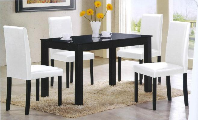 [A-STAR] Modern Glass Top Dining Table and Chairs set