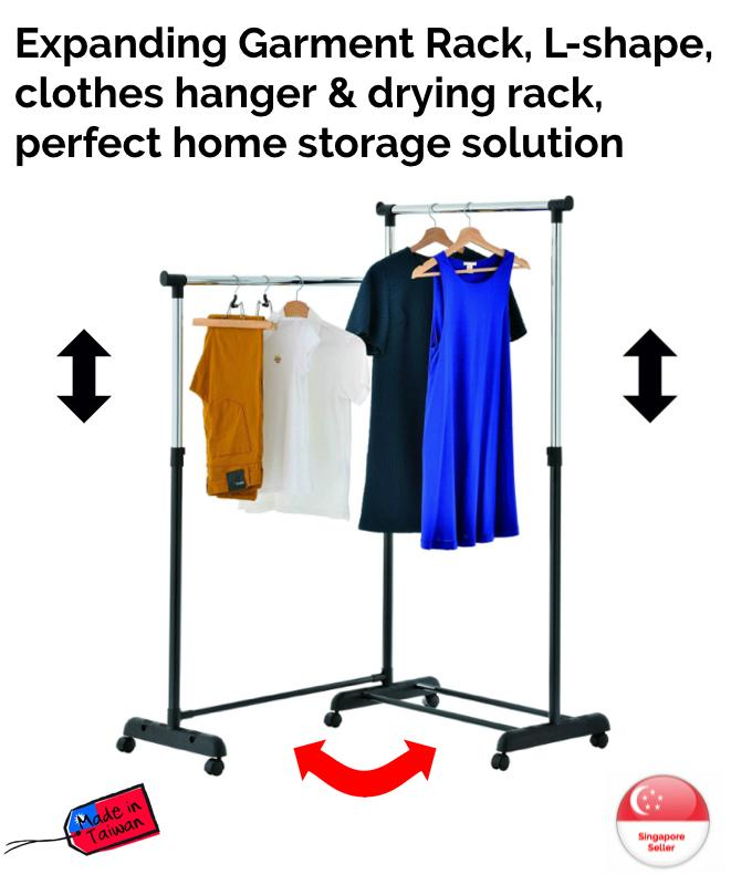 Expanding Garment Rack - expanding garment rack, clothes hanger, laundry drying, adjustable, moveable, storage, L-shape, Made in Taiwan