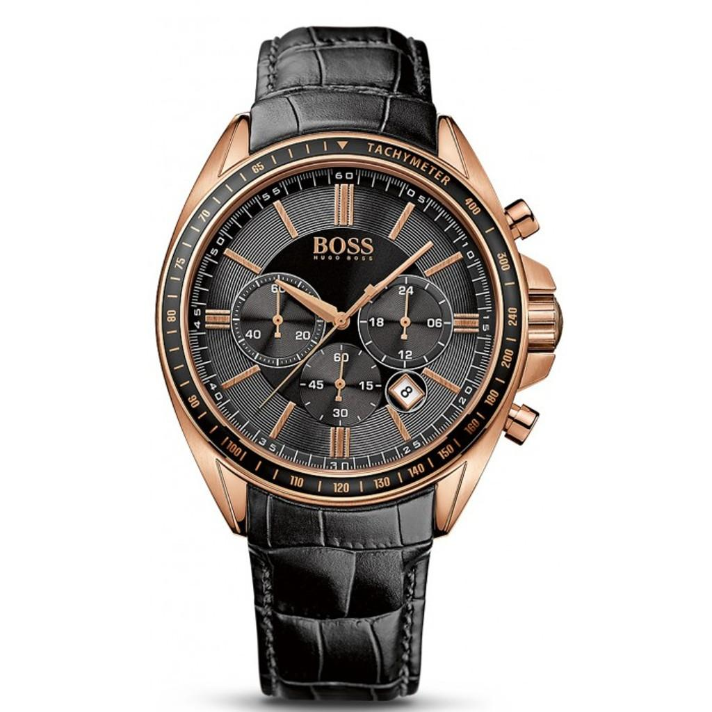 f2474d5a0392 Hugo Boss Male s Watch Black Genuine Leather Strap 44mm Rose Gold Plated  Dial HB1513092