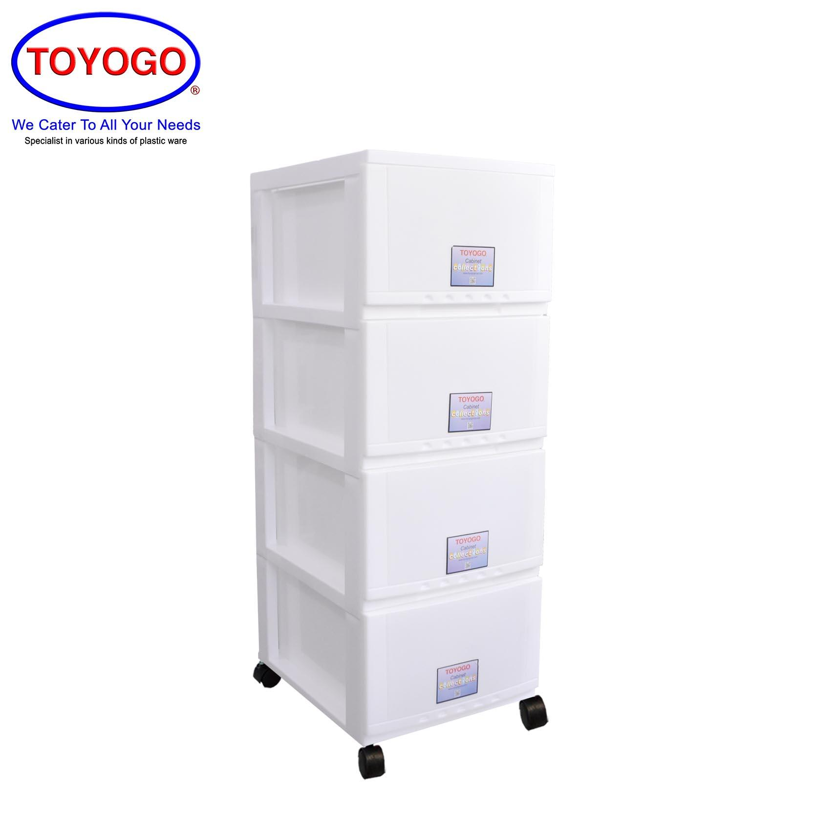 Toyogo Plastic Storage Cabinet / Drawer With Wheels (4 Tier) (607-4)