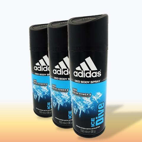 [3 Deodorants] Adidas Men Ice Dive 24 Hours Deodorant Body Spray 150ML