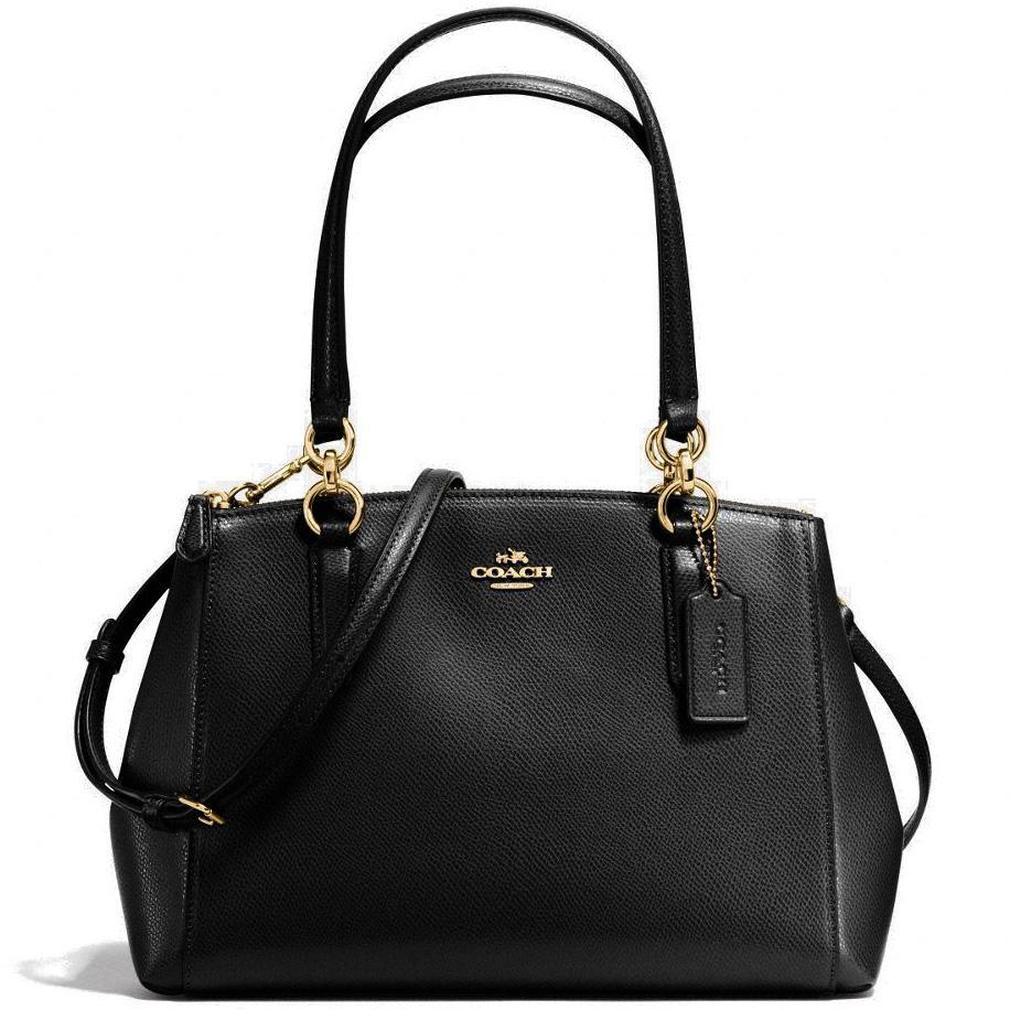Coach Small Christie Carryall In Crossgrain Leather Handbag Gold   Black    F57520 + Gift Receipt b6f1e83ec79f2
