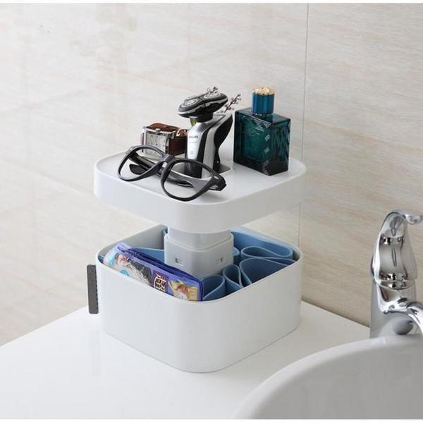 Multi-Purpose Bathroom Storage Box with Elevated Stand & EZ Grab Center Storage