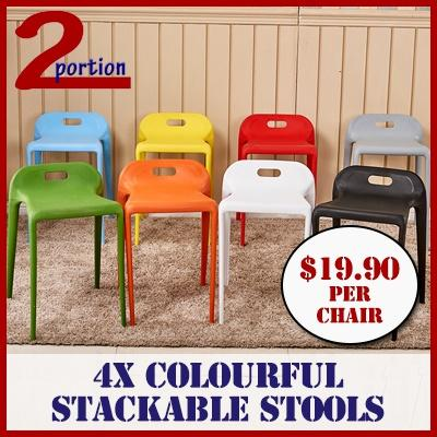 $19.90 PER CHAIR / 4X STACKABLE STOOLS WITH HANDLE MATTE SURFACE