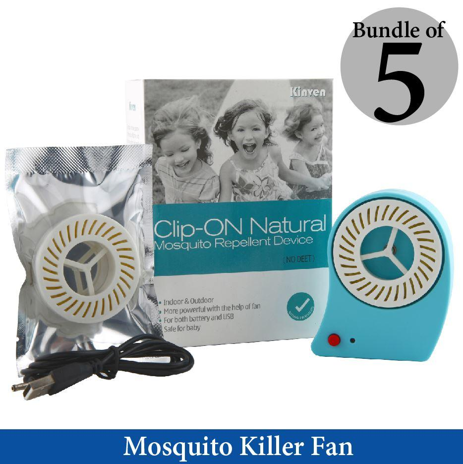 [Bundle of 5 Sets] Kinven Mosquito Killer USB Fan Eco-Friendly With 2 refill pack