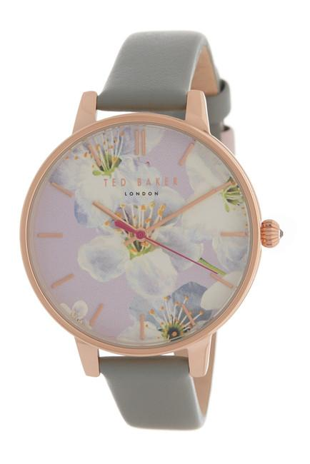 1d07b435d Ted Baker Women s Floral Dial Leather Strap Watch TE50493006