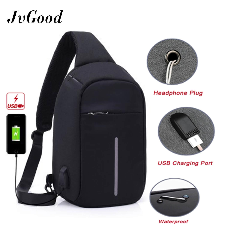 JvGood USB Charging Chest Bag Crossbody Bag Anti Theft Sling bag  Lightweight Casual Daypack for Men 58a61b8fb5bcf