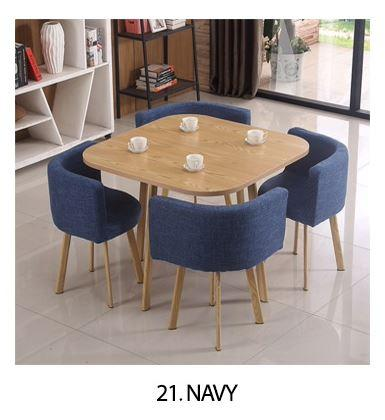 JIJI Spacious Coffee Dining Set (Free Installation) - Fabric Seat (1+4) / Dining Furniture / Tables (SG)