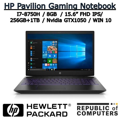 HP PAVILION GAMING NOTEBOOK 15-cx-0113TX I7-8750H / 8GB / 256GB+1TB / NVIDIA GTX1050 4GB / 15.6 FHD IPS / WINDOW 10